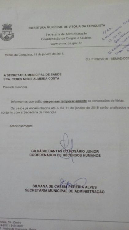 Comunicado Interno  Férias estão suspensas na Secretaria Municipal ... 62427347cb7d8